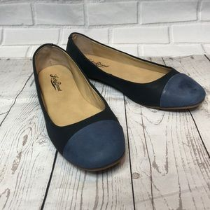 Lucky Brand Brielly Blue Leather Ballet Flats